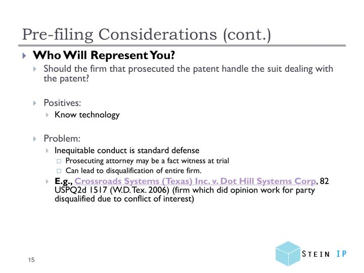 Pre-filing Considerations (cont