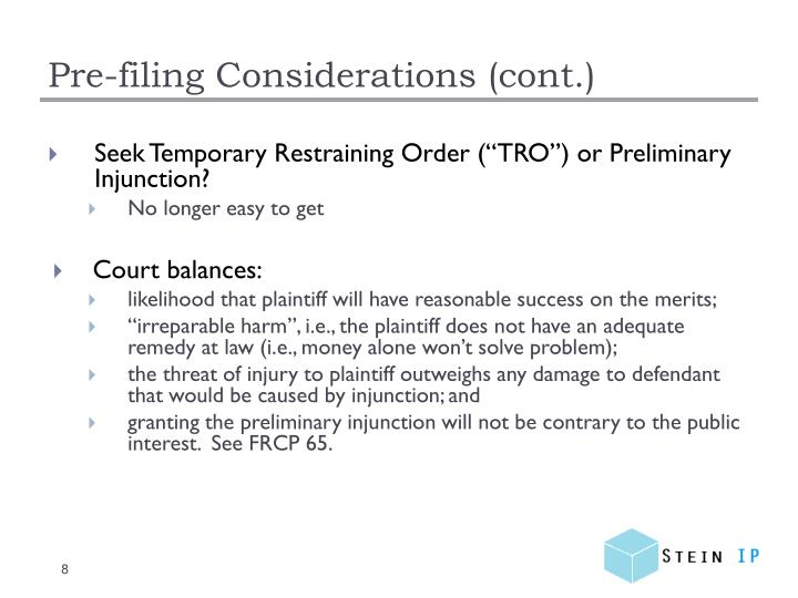 Pre-filing Considerations (cont.)