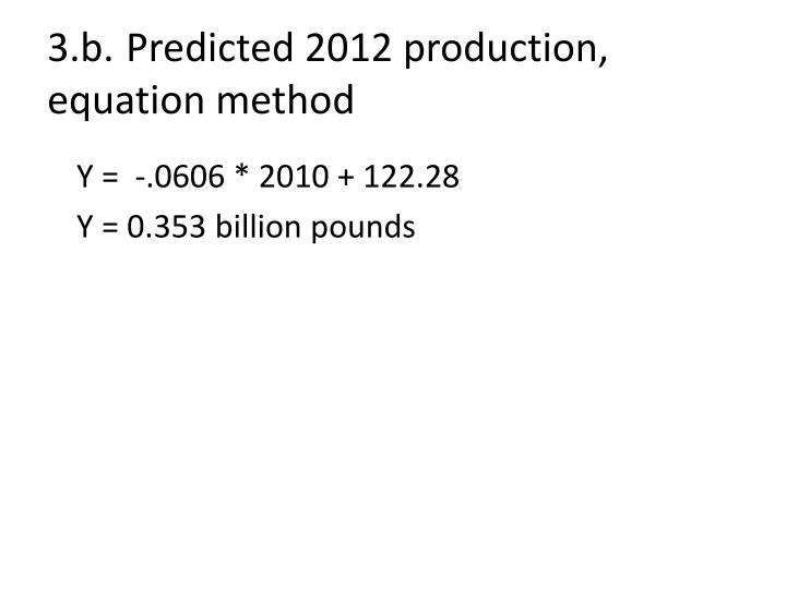 3.b.Predicted 2012 production, equation method