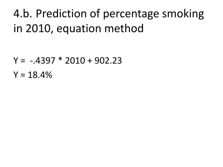 4.b.Prediction of percentage smoking in 2010, equation method