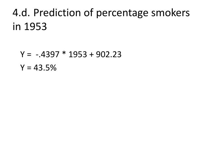 4.d.Prediction of percentage smokers in 1953
