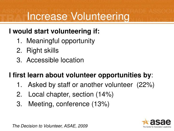 Increase Volunteering