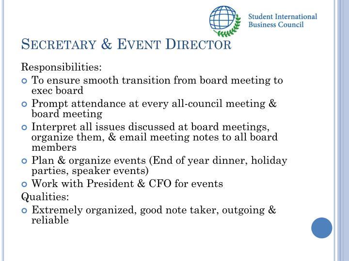 Secretary & Event Director