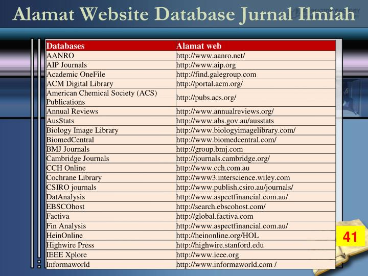 Alamat Website Database Jurnal Ilmiah