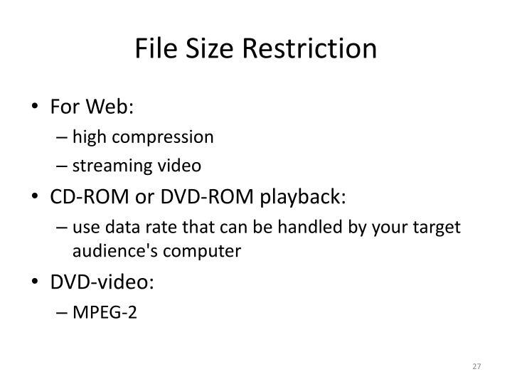 File Size Restriction