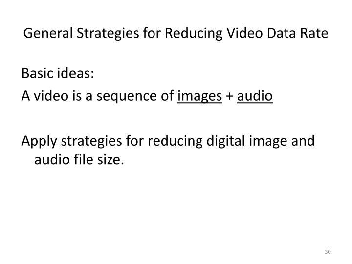 General Strategies for Reducing Video Data Rate
