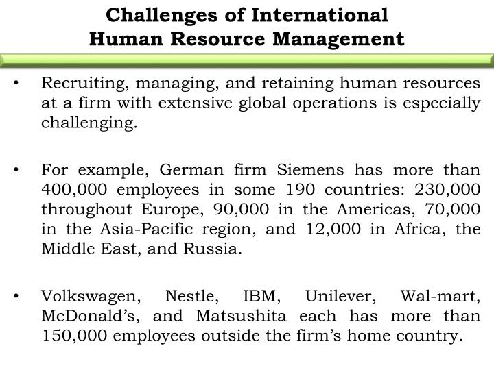 Challenges of International