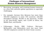 challenges of international human resource management
