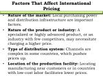 factors that affect international pricing