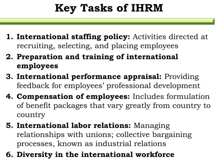 Key Tasks of IHRM