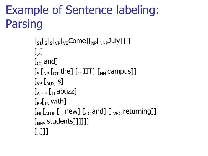 Example of Sentence labeling: Parsing
