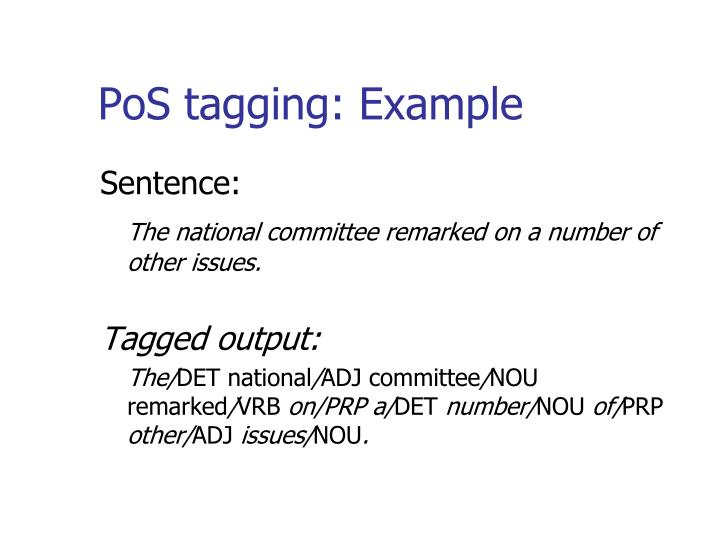 PoS tagging: Example