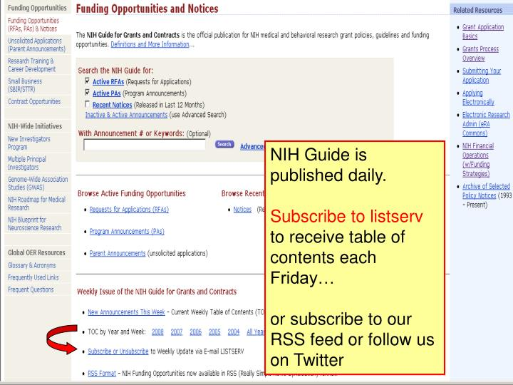 NIH Guide is published daily.