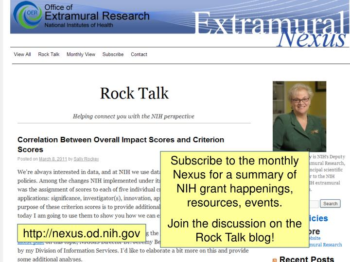 Subscribe to the monthly Nexus for a summary of NIH grant happenings, resources, events.