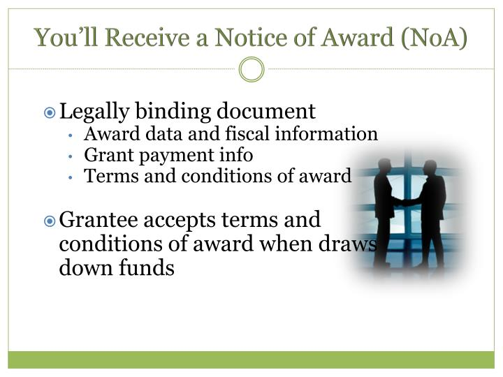 You'll Receive a Notice of Award (