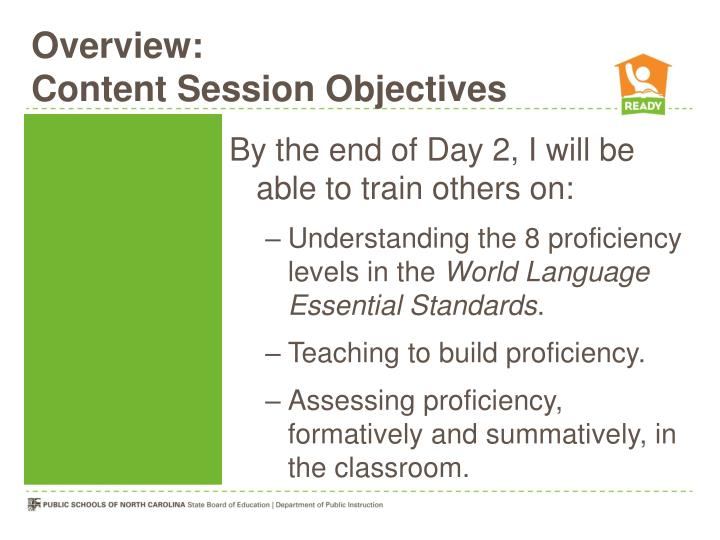 Overview content session objectives