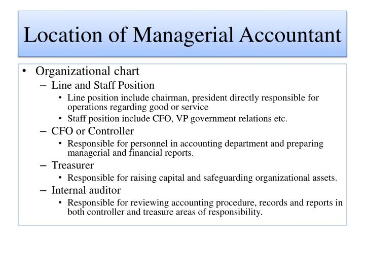 Location of Managerial Accountant