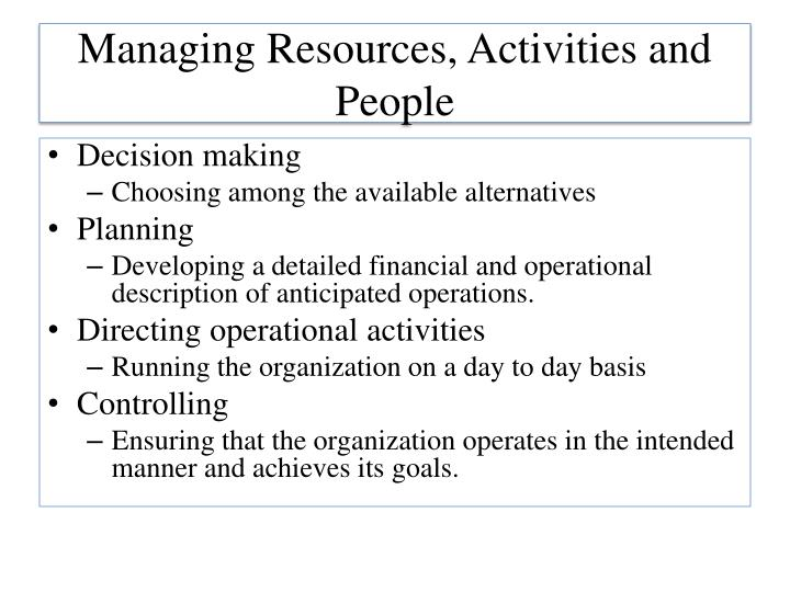 Managing resources activities and people