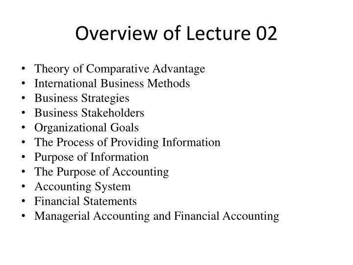 Overview of lecture 02