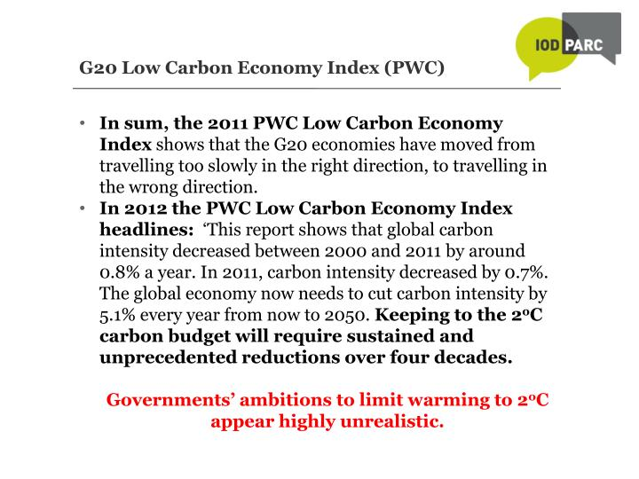 G20 Low Carbon Economy Index (PWC)