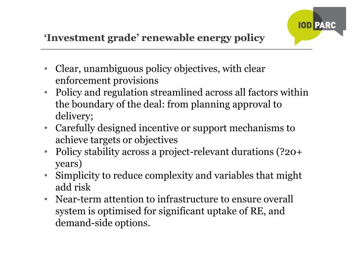'Investment grade' renewable energy policy