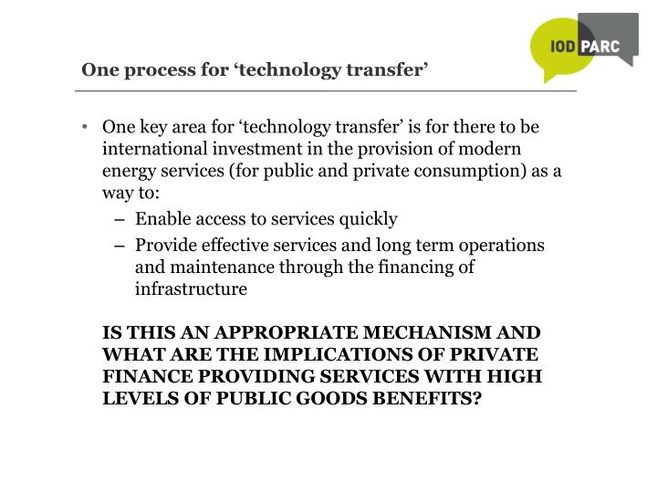 One process for 'technology transfer'