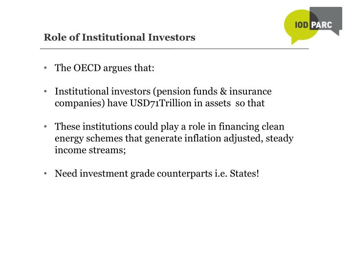 Role of Institutional Investors