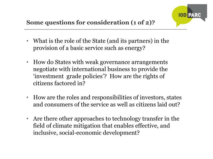 Some questions for consideration (1 of 2)?