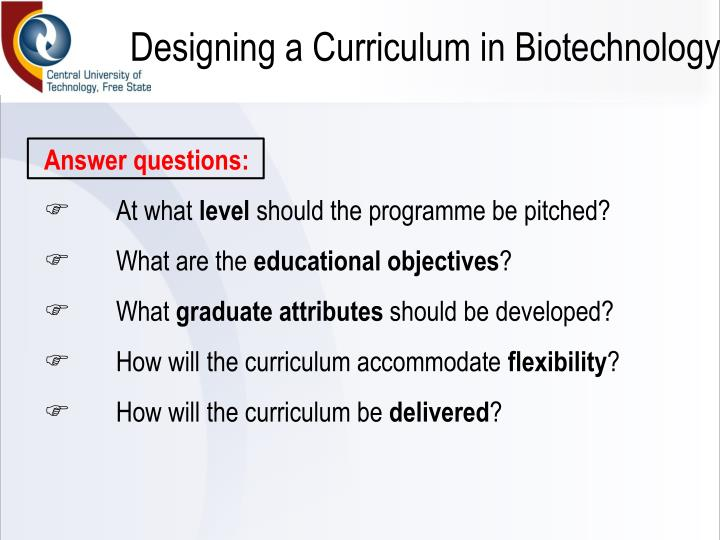 Designing a Curriculum in Biotechnology