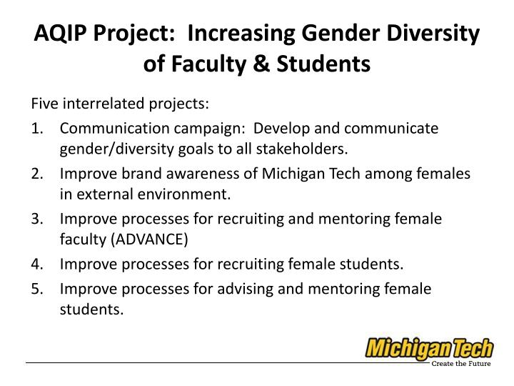 AQIP Project:  Increasing Gender Diversity