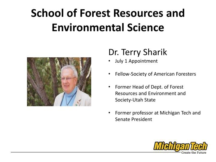 School of Forest Resources and Environmental Science
