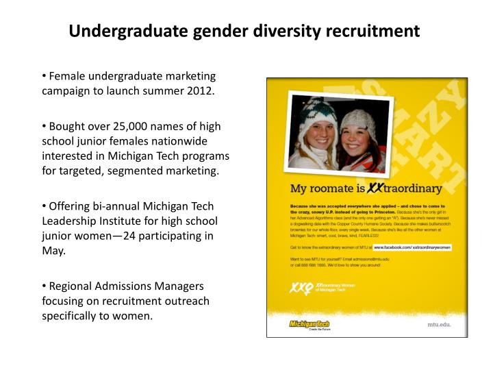 Undergraduate gender diversity recruitment