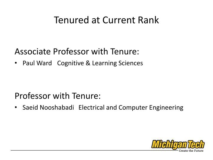 Tenured at Current Rank