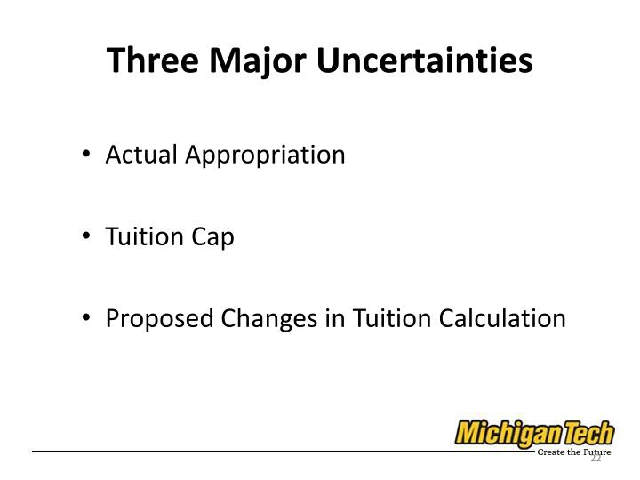 Three Major Uncertainties