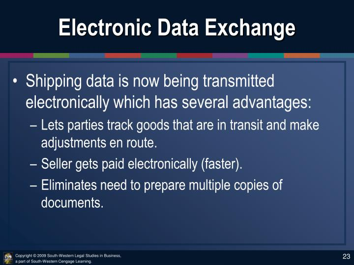 Electronic Data Exchange : Ppt chapter the documentary sale and terms of trade