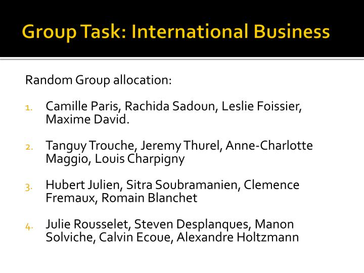Group Task: International Business