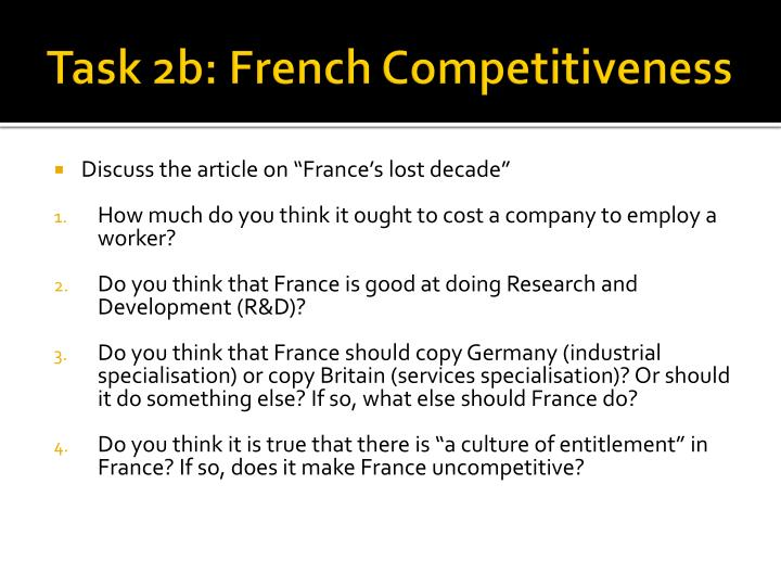 Task 2b: French Competitiveness