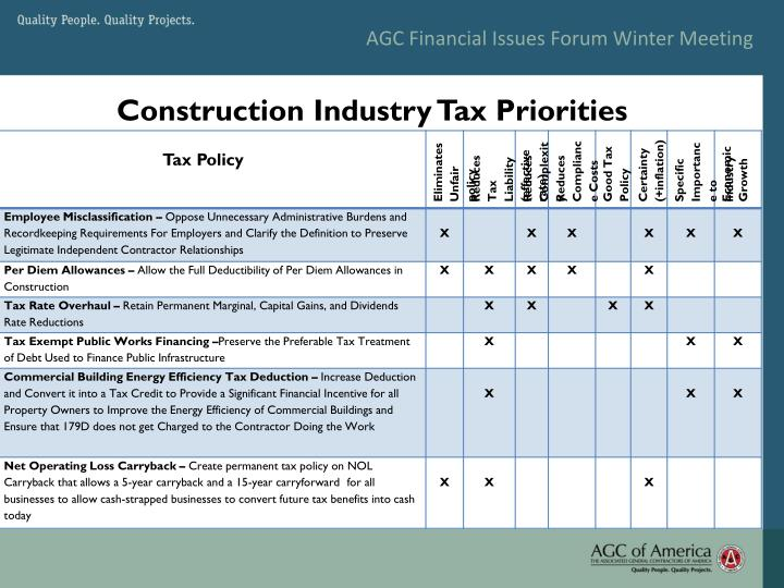 AGC Financial Issues Forum Winter Meeting