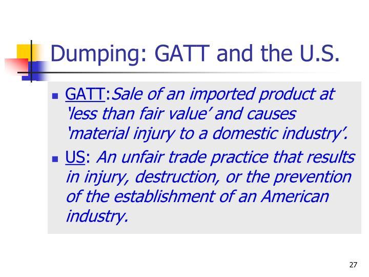 Dumping: GATT and the U.S.
