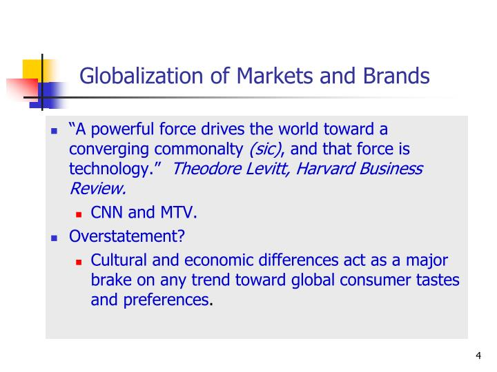 Globalization of Markets and Brands