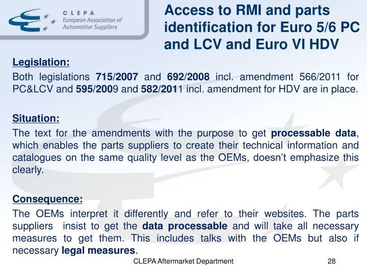 Access to RMI and parts