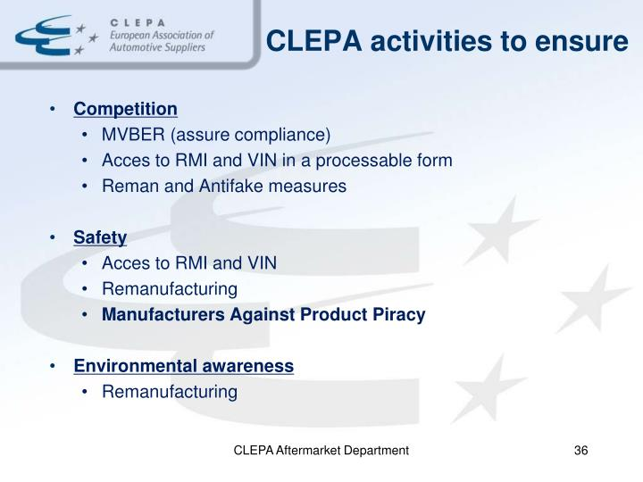 CLEPA activities to ensure
