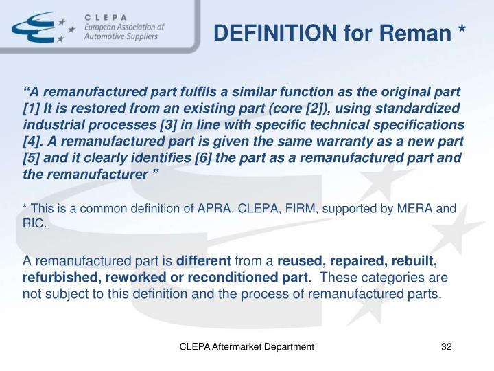 DEFINITION for Reman *