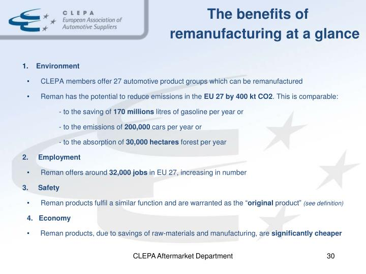 The benefits of remanufacturing at a glance