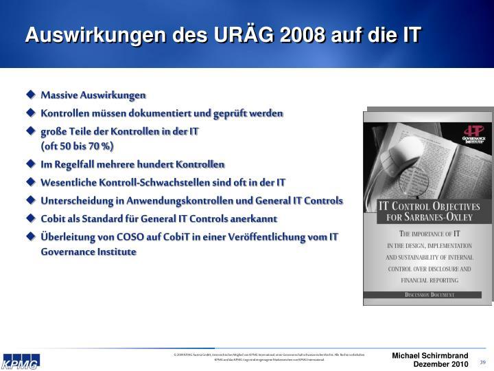 Auswirkungen des URÄG 2008 auf die IT