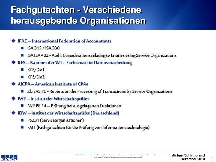 Fachgutachten - Verschiedene herausgebende Organisationen