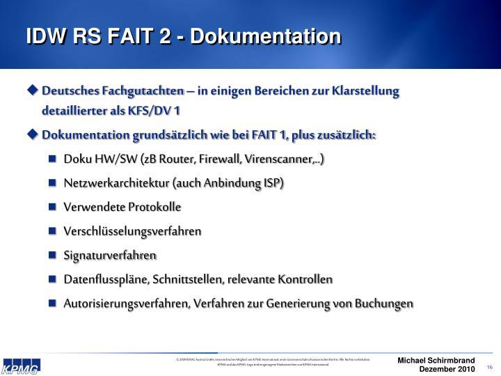 IDW RS FAIT 2 - Dokumentation