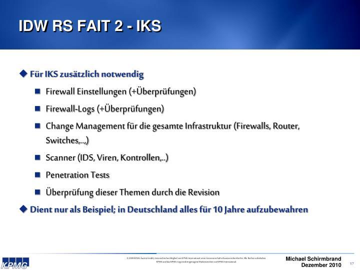 IDW RS FAIT 2 - IKS