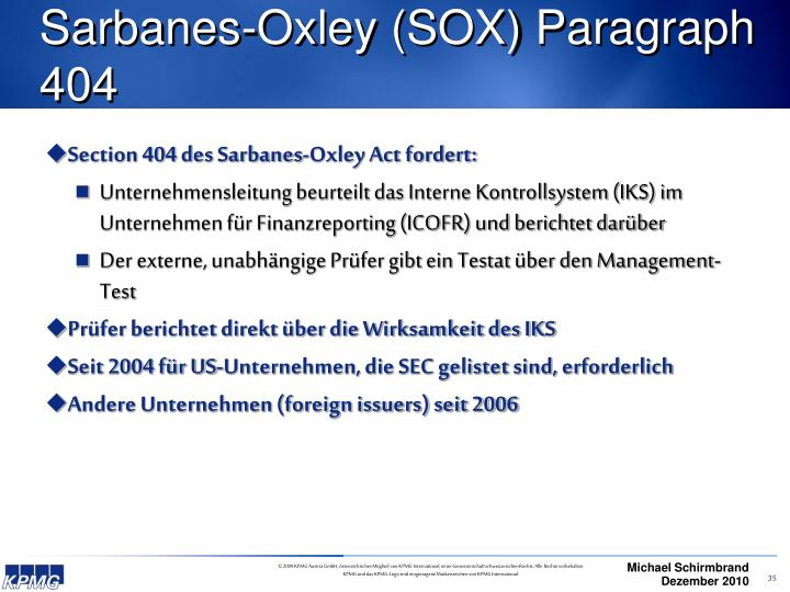 Sarbanes-Oxley (SOX) Paragraph 404