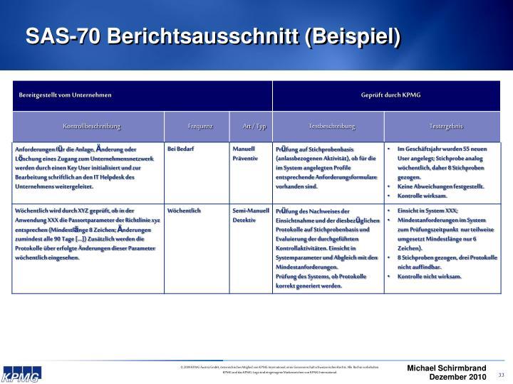 SAS-70 Berichtsausschnitt (Beispiel)